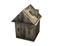 Papierhaus des Dollars 3D Lizenzfreie Stockfotos