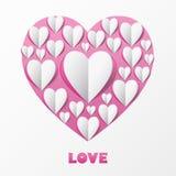 Papierherz-Liebes-Karte. Schablone für Designgrußkarte, weddin Stockbild