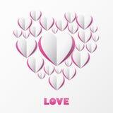 Papierherz-Liebes-Karte. Schablone für Designgrußkarte, weddin Stockfotos