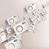 Papierhintergrund mit Fotokamera-Netzikone Stockbild