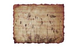 Papierhintergrund mit Musik und Blumen stockfoto