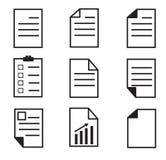 Papierikone auf weißem Hintergrund stellen Sie Papierikone ein Papierzeichen Stockfotografie