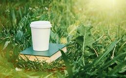 Papierkaffeetasse und Buch im Gras lizenzfreies stockbild
