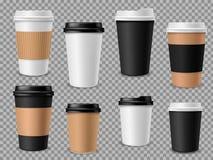 Papierkaffeetassesatz Weißbuchschalen, leerer brauner Behälter mit Deckel für Lattemokkacappuccino trinkt realistisches stock abbildung