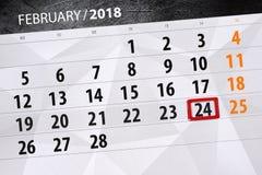 Papierkalendertag 24-monatiges im Februar 2018 Lizenzfreie Stockfotos