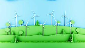 Papierkarikaturlandschaft mit Windarbeitsturbinen Ökologisches Konzept Wiedergabe 3d Stockfotografie