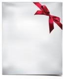 Papierkarte mit rotem Bogen. Vektorillustration. Stockfotografie