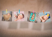 Papierkarten von den Babys, die am Seil hängen stockbild