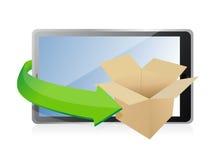 Papierkasten auf Tablet für Transport-Konzept. Stockfoto