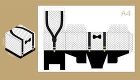 Papierkasten mit Hosenträgern und Fliege Bedruckbare Schablone für kleine Mann ` s Geburtstagsvater ` s Tagespartei lizenzfreie abbildung
