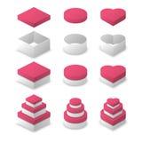 Papierkasten-Quadratform, Kreisform und Herz formen Stock Abbildung