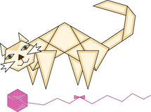 Papierkatzen- und Garnball Lizenzfreies Stockbild