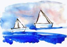 Papierkirchenschiffe auf Wasser Stockfotografie