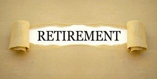 Papierkowa robota z słowo emeryturze zdjęcie stock