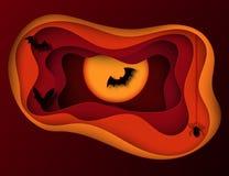 Papierkunst Halloween-Nachthintergrund mit Fliegenschlägern und Dummkopf moon vektor abbildung