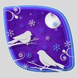 Papierkunst schnitzen zum Vogel auf Baumast im Wald an der Nacht, an der Origamikonzeptnatur und an den Tieren Idee, Vektorkunst  Lizenzfreies Stockfoto