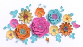 Papierkunst, Sommerblumen auf einem weißen Hintergrund mit Blattschnitt des Papiers Vektorauf lagerabbildung lizenzfreie stockfotografie