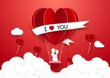 Papierkunstart Paar, das in der Heißluft steht, steigt im Ballon auf Stockbild