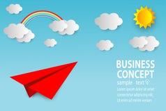 Papierkunstgeschäftskonzept mit Wolke und Sonne, flaches Papierfliegen auf Himmelentwurf, Firmenneugründungskonzept, Führung, kre stock abbildung