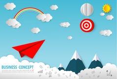 Papierkunstgeschäftskonzept mit Wolke und Sonne, flaches Papierfliegen auf Himmelentwurf, Firmenneugründungskonzept, Führung, kre lizenzfreie abbildung