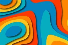 Papierkunstkarikatur-Zusammenfassungswellen Papier schnitzen Hintergrund Moderne Origamidesignschablone Papierschnitthintergrund  stockfotografie