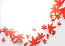 Papierkunstkonzept Roter und orange Autumn Leaves Background Lizenzfreie Stockfotos