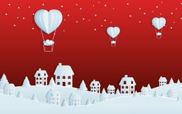 Papierkunstkonzept von Weihnachten mit Ballonherzen auf Himmel zum Dorf Frohe Weihnachten und guten Rutsch ins Neue Jahr vektor abbildung