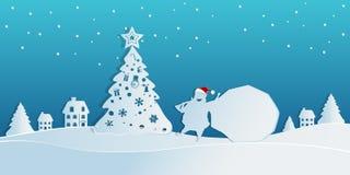 Papierkunstkonzept von Weihnachten mit Santa Claus trägt eine Tasche von Geschenken in der Schneeszene zum Dorf Frohe Weihnachten lizenzfreie abbildung