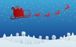 Papierkunstkonzept von Weihnachten mit Weihnachtsmann-Fliegen mit Renpferdeschlitten auf Himmel zum Dorf Frohe Weihnachten und gu vektor abbildung