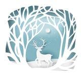 Papierkunstlandschaft von Weihnachten und von guten Rutsch ins Neue Jahr mit Baum vektor abbildung
