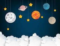 Papierkunstorigamiabstrakter begriff mit Sternen, Planeten vektor abbildung