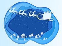 Papierkunsttiefenkonzept von Weihnachten mit Weihnachtsmann-Fliegen mit Renpferdeschlitten auf Himmel zum Dorf lizenzfreie abbildung