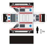 Papiermodell eines Krankenwagens Stockfotos