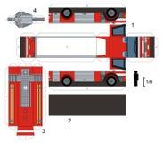 Papiermodell eines Löschfahrzeugs Stockfotos
