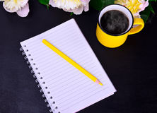 Papiernotizbuch mit einem gelben hölzernen Bleistift Stockbilder