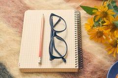 Papiernotizbuch mit Stift und Gläser auf woolen Plaid Lizenzfreie Stockfotografie
