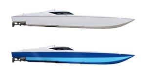 Papierosowe bieżne prędkości motorboat łodzie odizolowywać Zdjęcia Stock