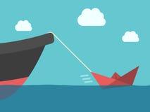 Papierowa łódź, kruszcowy statek Zdjęcie Royalty Free