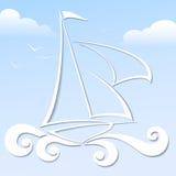 Papierowa łódź na błękitnym tle Zdjęcie Stock