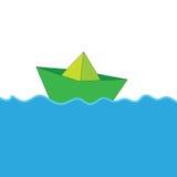 Papierowa łódź przy dennym koloru wektorem Obraz Stock