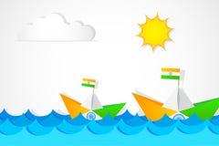 Papierowa łódź w indianin flaga kolorze Ilustracji