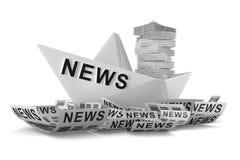 Papierowa łódkowata wiadomość Obraz Stock