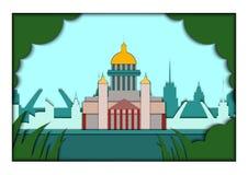 Papierowa aplikacja stylu wektoru ilustracja Karta z zastosowaniem świętego Petersburg ponorama z St Isaac ` s katedrą ilustracji