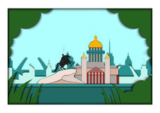 Papierowa aplikacja stylu wektoru ilustracja Karta z zastosowaniem świętego Petersburg ponorama z zabytkiem Peter ilustracji