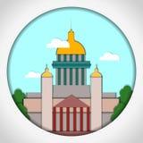 Papierowa aplikacja stylu wektoru ilustracja Karta z zastosowaniem St Isaac katedra, St Petersburg pocztówka ilustracji
