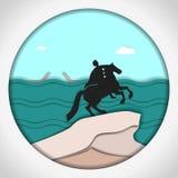 Papierowa aplikacja stylu wektoru ilustracja Karta z zastosowaniem zabytek Peter Wielki miedziany jeździec, St ilustracji