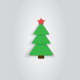 Papierowa choinki ikona nowy rok, Mieszkanie styl Zdjęcie Stock