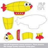 Papierowa dzieciak gra Łatwy zastosowanie dla dzieciaków z Żółtym sterowem ilustracja wektor