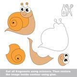 Papierowa dzieciak gra Łatwy zastosowanie dla dzieciaków z ślimaczkiem ilustracja wektor