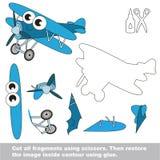 Papierowa dzieciak gra Łatwy zastosowanie dla dzieciaków z biplanem royalty ilustracja